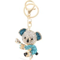 australia zinc - Australia Blue Koala Bear Lovely Charm Pendent Cute Rhinestone Crystal Purse Bag Key Chain Gift