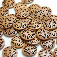 Wholesale 100 Natural Chrysanthemum Style Wood Button CM cm Choose Size Diy Accessories