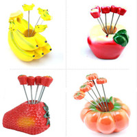 grapefruit - 1 Set Creative Fruit Fork Spork Stainless Steel Vegetable Fruit Forks Kitchen Fruits Accessories