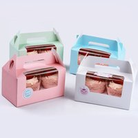 Wholesale 6 X3 X3 inches Assorted Color Cavity Cupcake Boxes W Clear Window Muffin Packaging Box with Handle