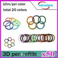 Wholesale 50pcs High quality D Print PLA Filament Consumables mm M roll Color Pack for D Printer Pen Filament Refills YX CL
