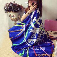 silk twill scarf - New Real Silk Scarf Women Letter Carriage Summer Pashmina Shawl Hot cm Big Square Handkerchief Twill Silk Scarf