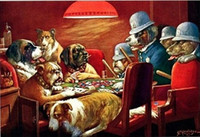 ace life - Dogs Playing Poker Pinched With Four Aces Genuine Handpainted Coolidge Wall Art oil Painting On Canvas Museum Quality customized size