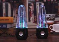 Wholesale New usb tumbler dancing water speaker Portable Mini USB LED colorful lighting music speakers Black White color ZD064A