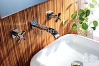 Wholesale bathroom wall mounted faucet with chrome finish double handle basin mixer