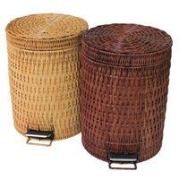 bathroom trash baskets - The bathroom basket toilet basket rattan trash large household office basket pedal turnover creative trumpet basket