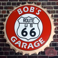 aluminum round bars - BOB S Garage US Route Round Beer signs Bottle Cap Tin Signs Rustic Wall Plaque Garage Bar Diner cm RM