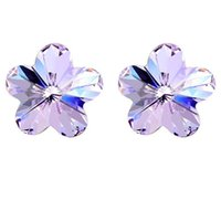 Wholesale 2015 Women Flower Crystal Stud Earrings Made With Austria Crystal Elements Silver Plated