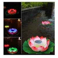 Wholesale Solar Powered LED G R W Pond Pool Floating Lotus Flower Rotating Xmas Light Lamp Solar Lotus Light Set B244