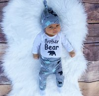 bears winter hats - 2016 baby toddler Christmas Newborn children Boys Girls Arrow Bear Printed Rompers Pants Hat Clothes sets cotton Outfit Sets