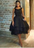 al por mayor vestidos ocasionales-Negro corto Prom vestidos para las mujeres árabes Jewel Cuello de encaje 2016 por encargo de Ocasión Occasional Cóctel de longitud Vestidos de noche más tamaño