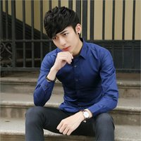 Wholesale 2016 autumn new men s business casual shirt men cultivating a solid color shirt men s long sleeved shirt Korean version