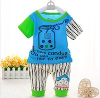 Wholesale The new specials every day in summer cotton years old baby boy girl suits short sleeve shorts two piece outfit