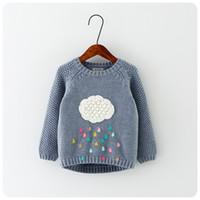 Wholesale 2016 Autumn Winter New Winter Cartoon Baby Girls Sweater Cloud Raindrops Kids Cloed Wool Cotton Knitwear Infant Sweater Kids Clothing