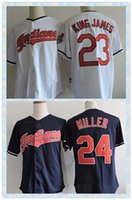 Wholesale Fast Men s Cleveland Indians Baseball Jersey King James Andrew Miller White Dark Blue Throwback Jerseys