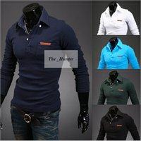 Wholesale Men Polo Shirt Mens Fawn Embroidery Luxury Tops Casual Slim Fit Stylish T Shirt Long Sleeve Polos Male Tees Polo Shirts Men s Clothing