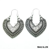 antique ethnic jewellery - Antique Silver Carved Heart Vintage Ethnic Drop Dangle Earrings Jewelry Jewellery Gift For Women Girls