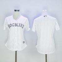 Baseball Women Short 2016 Colorado Rockies Jersey Womens Blank White with Purple Stripes Flexbase Collection Baseball Jersey Stitched 100% Name,2703