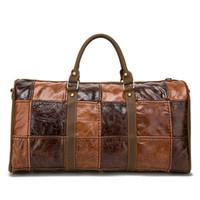 Wholesale New Splicing Travel Bag Vintage Genuine Leather Hand Bag Large Capacity Travel Duffle Bag Shoulder Bag Luggage Bag