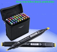 Wholesale 48pcs NEW touchfive black penholderTwin Art Markers Pen Fine Dual Heads Marking Pen Marker Paint Pens with Free Bag