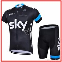 Wholesale Newest SKY team black color bicycle wear Top bike bicycle jersey short sleeves bib none bib cycling jerseys cycling shorts size XS XL