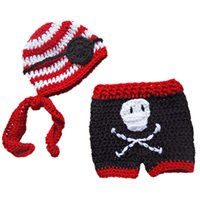 Unisex Spring / Autumn Acrylic Super Cool Baby Pirate Costume,Handmade Knit Crochet Baby Boy Girl Striped Pirate Hat Eye Patch and Pants,Infant Toddler Photo Prop
