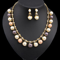 Wholesale Fashion Simulated Pearl Jewelry Sets For Women Pendant Wedding Necklace Earrings African Beads Bridal Party Dress Accessories DHW262