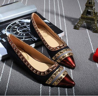 Women Loafers Spring and Fall Rivets Decoration Brand Shoes Flats Women Spring Autumn Fashion Womens Flats Boat Shoes Sexy Ladies Plus Size 11 Free Shipping