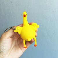 Wholesale A Set of Creative Toys Funny Vent Keychain Chicken Egg Laying Hens Crowded Decompression Trick Funny Spoof