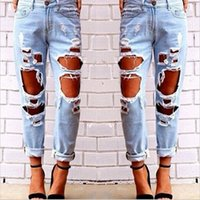 Wholesale New Fashion Ripped Jeans Femme Casual Washed Holes Boyfriend Jeans for Women Regular Long Torn Jeans Wild Denim Pants XL