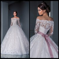 Wholesale Elegant Ball Gown Lace Wedding Dresses Off the Shoulder Long Sleeves Sheer Illusion Chapel Train Appliques Beads Bridal Dress Gowns