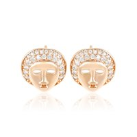 mask earrings - Personnel Mask Face Copper Stud Earrings Women White Fine Zirconia K Gold Plated Ear Knot Xuping Factory Price Jewelry Earring for Gift