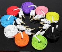 Wholesale Colorful mm Aux Audio Cable Male to Male Flat noodle Stereo Auxiliary Music Cord cables for speakers cell phone iphone samsung Huawei
