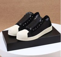 anti static shoes - 1 quality Low Y Super Zip shoes Black Knight Black Soul Oreo lovers casual shoes metal chain
