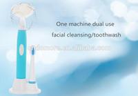 Wholesale 2 in1 Sonic Electric Brush Toothbrush Facial Cleanser Brush Electric Rotary Facial Cleansing Brush