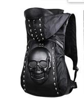 Wholesale The tide of Korean fashion dress hat bag shoulder bag black skull head metal D stereo backpack for men and women