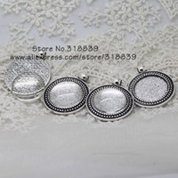 antique cabochons - Antique Silver Metal Alloy Trendy Cameo Setting Blanks Round Pendant Setting Charms Clear Glass Cabochons sets mm