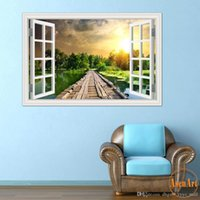 beautiful bridges - 3D Window View Wall Decal Sticker Home Decor Living Room Wood Bridge Seaside Sunset Beautiful Scenery Wallpaper Murals Art quot X28inch