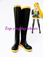 akita boots - Freeshipping Vocaloid Akita Neru Cosplay Show Boots shoes black amp yellow long custom made for Halloween Christmas festival