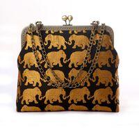 bag elephant - Animal Print Metallic Shoulder Bags Elephant Patten National Style Metallic Flap Versatile Soft Small Lady Handbags