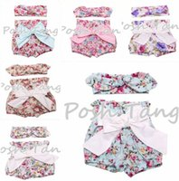 TuTu big bunny - INS hot baby girl Summer piece sets outfits Rose floral shorts pants bloomers diaper covers Big bow knot bunny ears headband headwrap