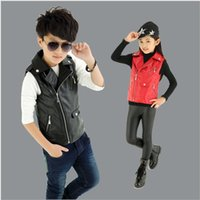 baby boy gilet - Brand New Children Clothes Baby Boy Girls Vest Kids Zipper Gilet PU Leather Vest For Years Old Colors