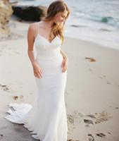 Wholesale Chiffon Beach Lace Wedding Dresses Sexy Summer Bohemian Bride Gowns Spaghetti Strap Backless Bridal Dress Mermaid Boho Romantic Modest