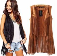 Wholesale best selling new Street Women Sleeveless Faux Suede Lapel Tassels Fringe Cardigan Vest Waistcoat Jacket Outwear Top Black Grown