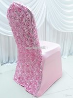 Wholesale Pieces spandex stretch lycra chair cover with D satin rosette flower back