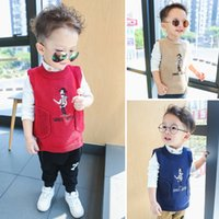 Wholesale Spring Sweater Vest For Boys - Knitted Vest for Boys Girls Embroider Sweater Waistcoat Autumn Winter New Children Outwear INS Hot Sale Kid Clothes