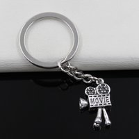 antique movie cameras - Fashion diameter mm Key Ring Metal Key Chain Keychain Jewelry Antique Silver Plated movie camera projector mm Pendant