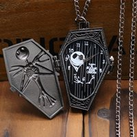 antique coffin - Antique Black Color The Nightmare Before Christmas Coffin Design Fob Pocket Watch With Necklace Chain For Gift