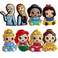 belle holder - PrettyBaby elsa anna snow white belle mermaid cinderella Princess Badge Holder PVC brooches Christmas brooch for bouquets