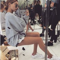 Wholesale 2016 Blusas Feminino Cotton Women Casual Long Sleeve Lady Hoodies European Fashion Hole Style Femme Sweatshirts